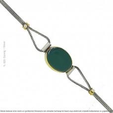 Yeşil Akik Taşlı Gümüş Bileklik