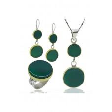 Yeşil Akik Taşlı Gümüş Üçlü Set