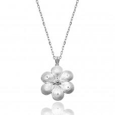 Kadın Papatya Çiçek Motifli Telkari Gümüş Kolye 2020426B