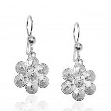 Kadın Papatya Çiçek Motifli Telkari Gümüş Küpe 2020426C